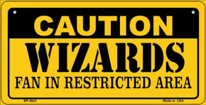 Caution Wizards Fan Area Novelty Metal Bicycle Plate BP-2622