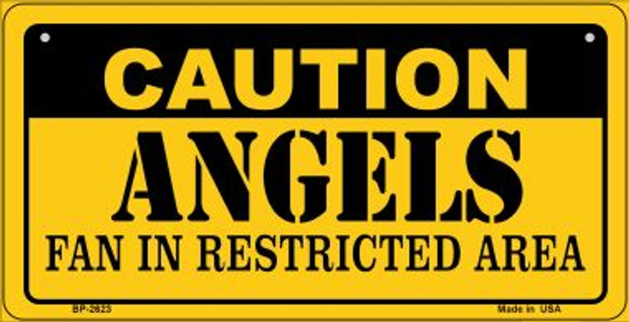 Caution Angels Fan Area Novelty Metal Bicycle Plate BP-2623