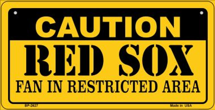 Caution Red Sox Fan Area Novelty Metal Bicycle Plate BP-2627