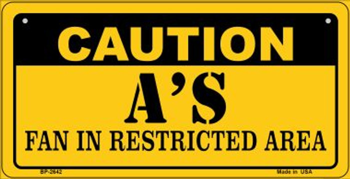Caution As Fan Area Novelty Metal Bicycle Plate BP-2642