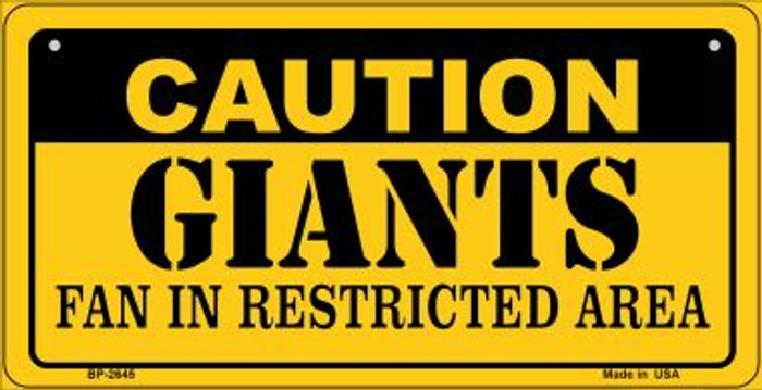 Caution Giants Fan Area Novelty Metal Bicycle Plate BP-2645