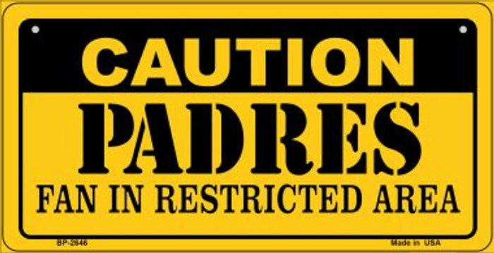 Caution Padres Fan Area Novelty Metal Bicycle Plate BP-2646
