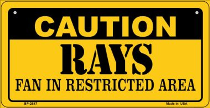 Caution Rays Fan Area Novelty Metal Bicycle Plate BP-2647