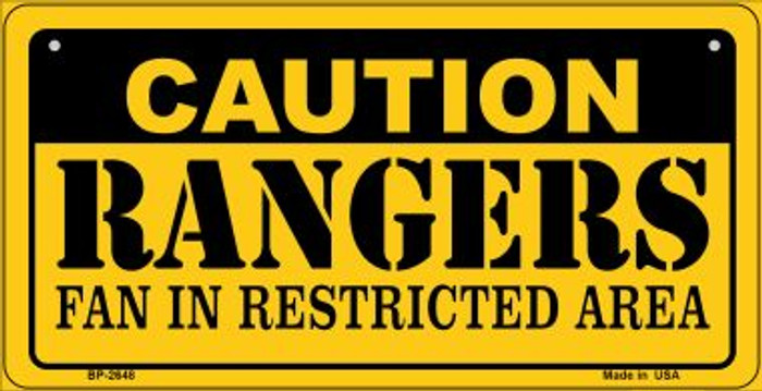 Caution Rangers Fan Area Novelty Metal Bicycle Plate BP-2648