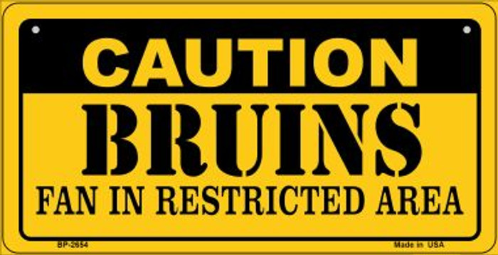 Caution Bruins Fan Area Novelty Metal Bicycle Plate BP-2654