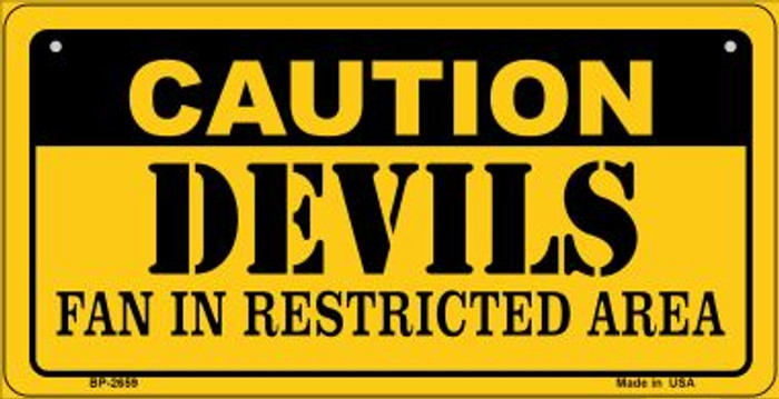 Caution Devils Fan Area Novelty Metal Bicycle Plate BP-2659