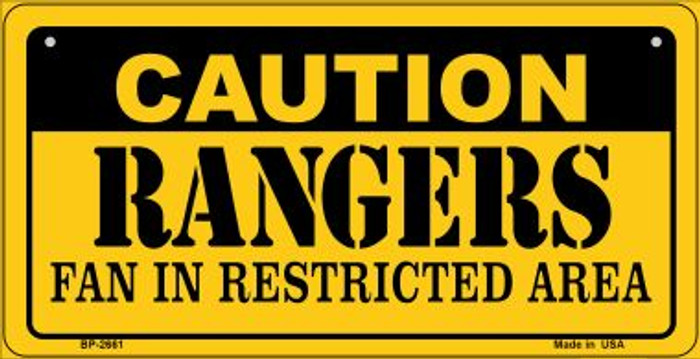 Caution Rangers Fan Area Novelty Metal Bicycle Plate BP-2661