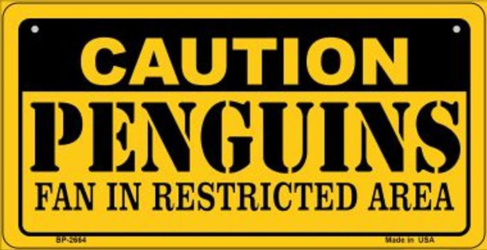 Caution Penguins Fan Area Novelty Metal Bicycle Plate BP-2664