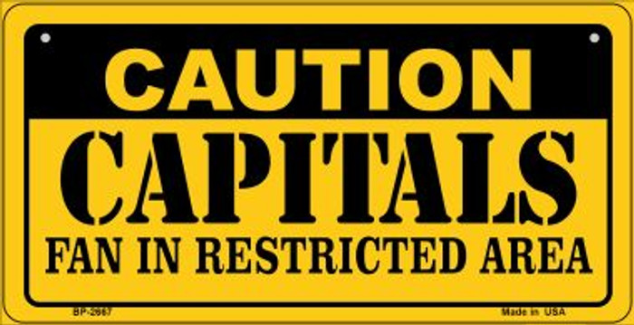 Caution Capitals Fan Area Novelty Metal Bicycle Plate BP-2667