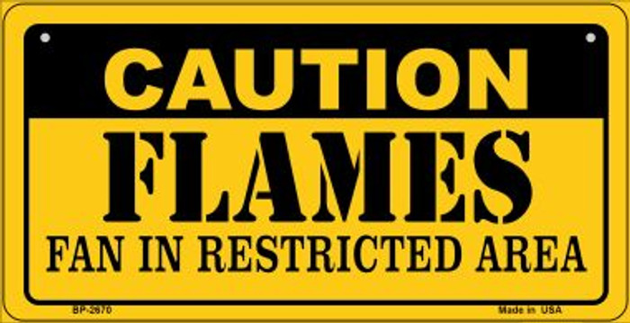 Caution Flames Fan Area Novelty Metal Bicycle Plate BP-2670