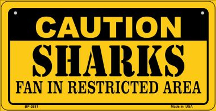 Caution Sharks Fan Area Novelty Metal Bicycle Plate BP-2681