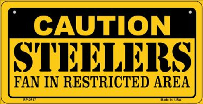 Caution Steelers Fan Area Novelty Metal Bicycle Plate BP-2517