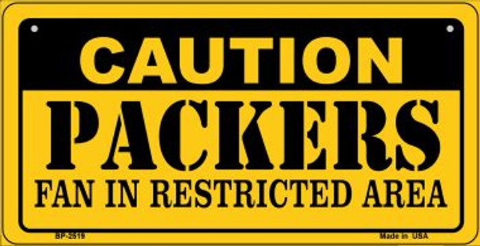 Caution Packers Fan Area Novelty Metal Bicycle Plate BP-2519