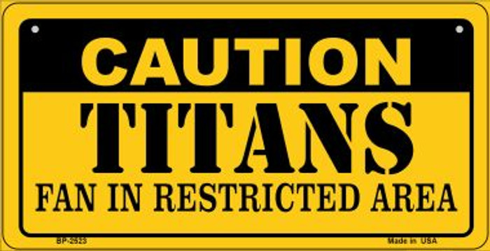 Caution Titans Fan Area Novelty Metal Bicycle Plate BP-2523