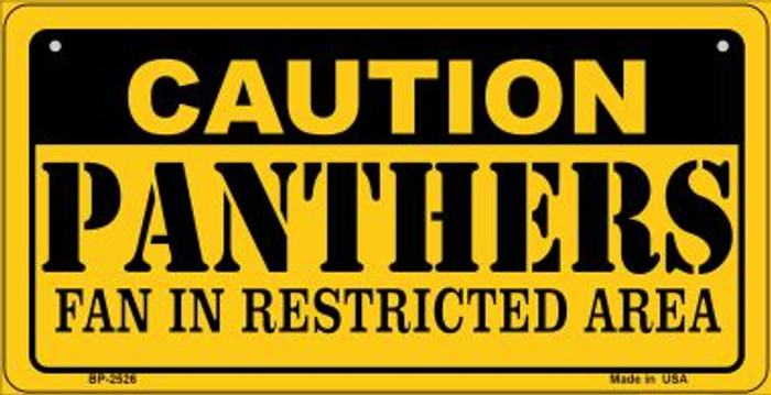 Caution Panthers Fan Area Novelty Metal Bicycle Plate BP-2526