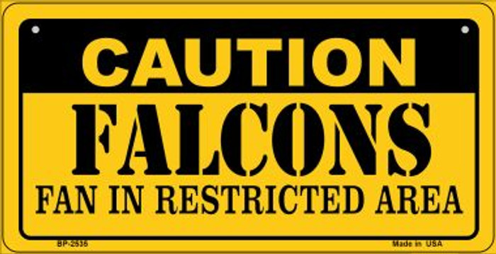Caution Falcons Fan Area Novelty Metal Bicycle Plate BP-2535