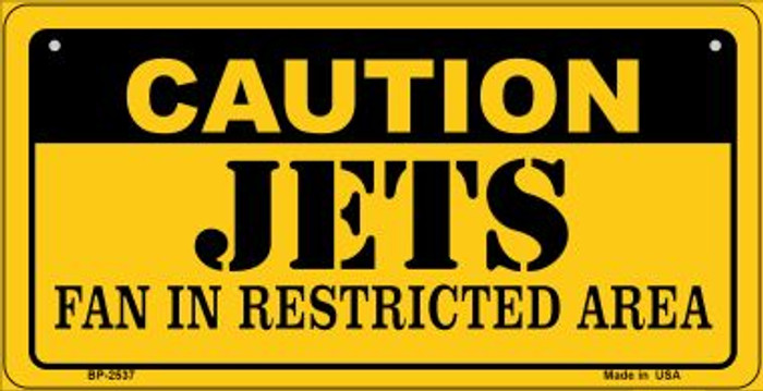 Caution Jets Fan Area Novelty Metal Bicycle Plate BP-2537