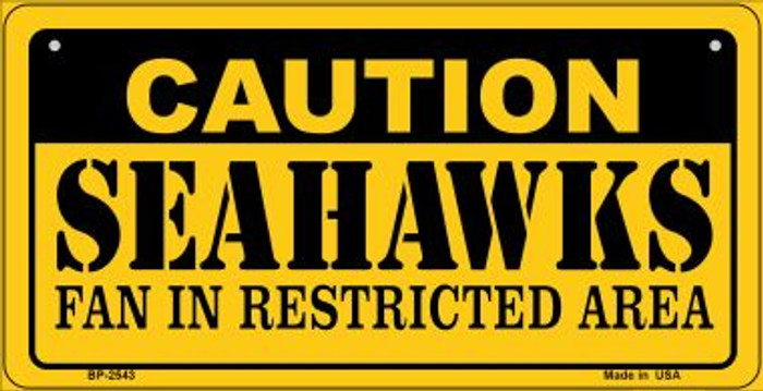 Caution Seahawks Fan Area Novelty Metal Bicycle Plate BP-2543