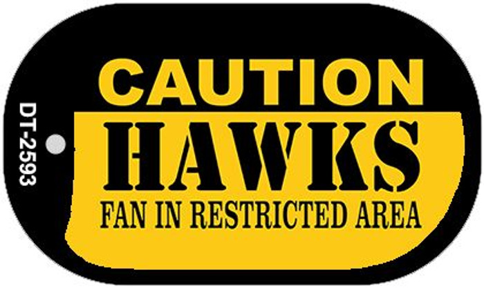 Caution Hawks Fan Area Novelty Metal Dog Tag Necklace DT-2593