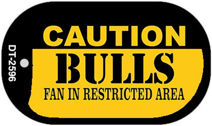 Caution Bulls Fan Area Novelty Metal Dog Tag Necklace DT-2596