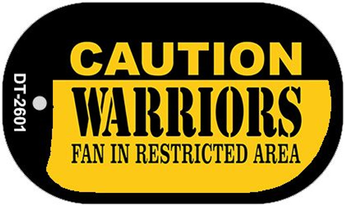 Caution Warriors Fan Area Novelty Metal Dog Tag Necklace DT-2601