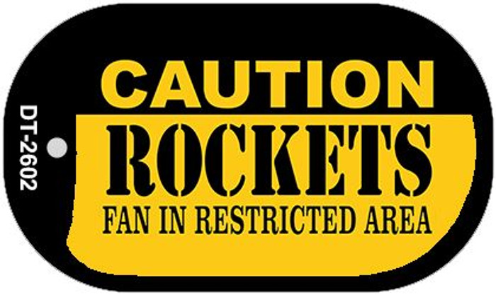Caution Rockets Fan Area Novelty Metal Dog Tag Necklace DT-2602