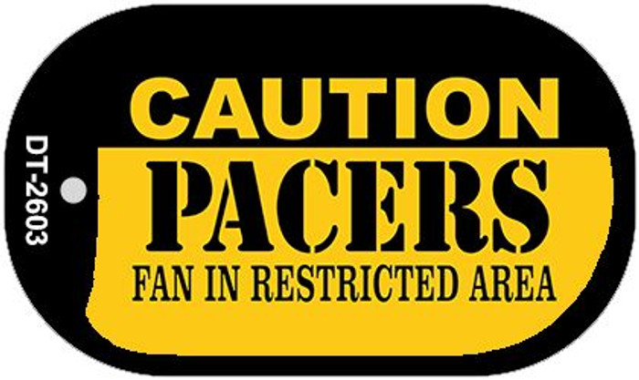 Caution Pacers Fan Area Novelty Metal Dog Tag Necklace DT-2603