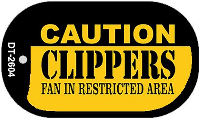 Caution Clippers Fan Area Novelty Metal Dog Tag Necklace DT-2604