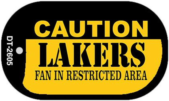 Caution Lakers Fan Area Novelty Metal Dog Tag Necklace DT-2605