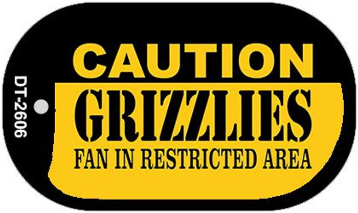 Caution Grizzlies Fan Area Novelty Metal Dog Tag Necklace DT-2606