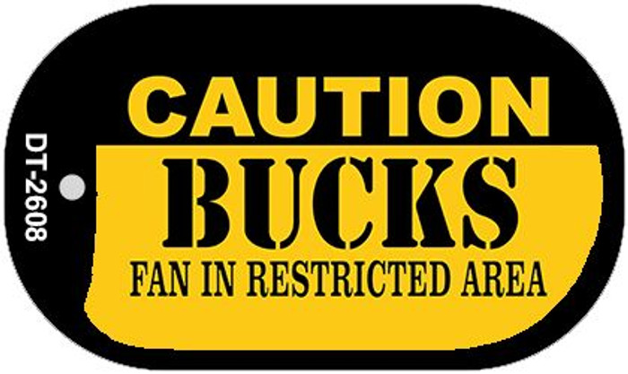Caution Bucks Fan Area Novelty Metal Dog Tag Necklace DT-2608
