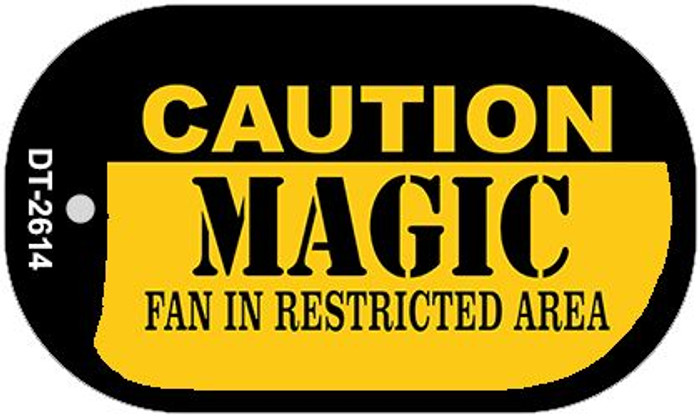 Caution Magic Fan Area Novelty Metal Dog Tag Necklace DT-2614