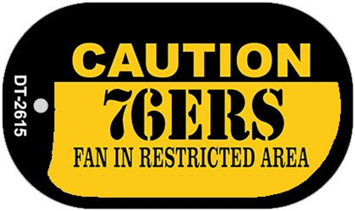 Caution 76ers Fan Area Novelty Metal Dog Tag Necklace DT-2615