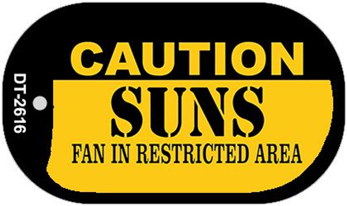 Caution Suns Fan Area Novelty Metal Dog Tag Necklace DT-2616