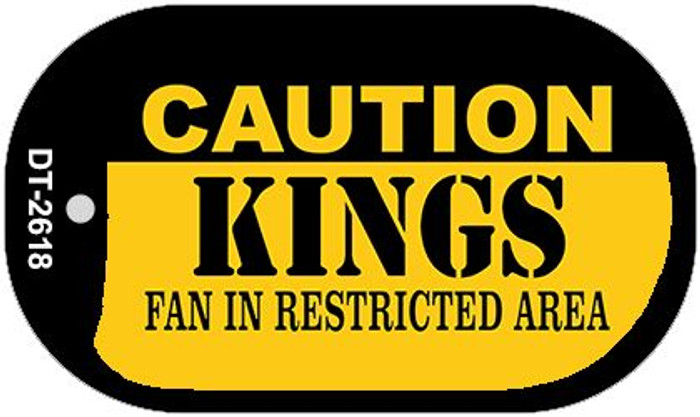 Caution Kings Fan Area Novelty Metal Dog Tag Necklace DT-2618
