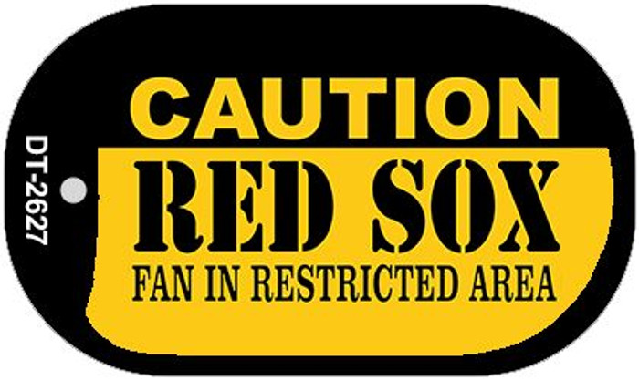 Caution Red Sox Fan Area Novelty Metal Dog Tag Necklace DT-2627