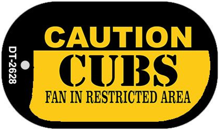 Caution Cubs Fan Area Novelty Metal Dog Tag Necklace DT-2628