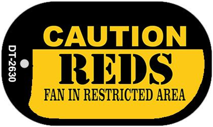 Caution Reds Fan Area Novelty Metal Dog Tag Necklace DT-2630