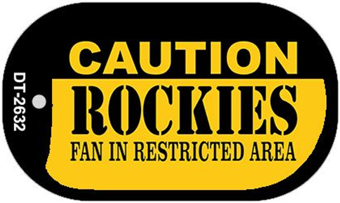Caution Rockies Fan Area Novelty Metal Dog Tag Necklace DT-2632
