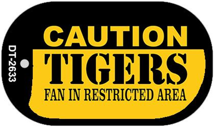 Caution Tigers Fan Area Novelty Metal Dog Tag Necklace DT-2633