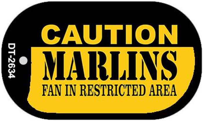 Caution Marlins Fan Area Novelty Metal Dog Tag Necklace DT-2634