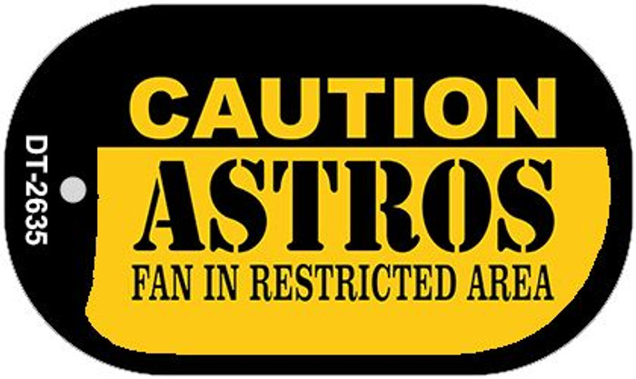 Caution Astros Fan Area Novelty Metal Dog Tag Necklace DT-2635
