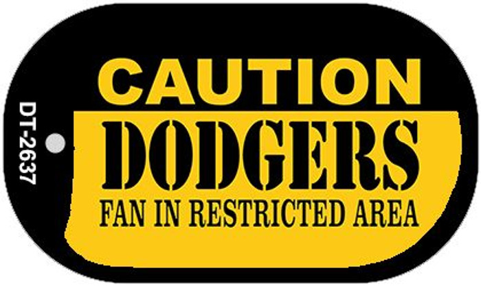 Caution Dodgers Fan Area Novelty Metal Dog Tag Necklace DT-2637