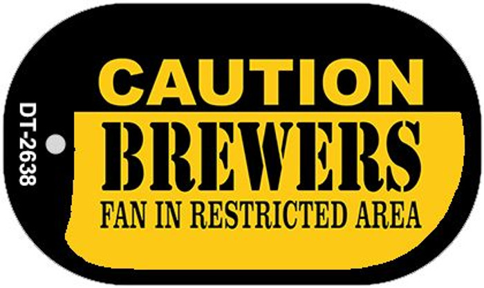Caution Brewers Fan Area Novelty Metal Dog Tag Necklace DT-2638