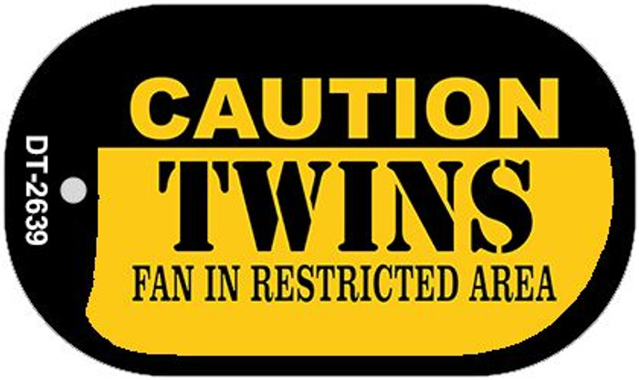 Caution Twins Fan Area Novelty Metal Dog Tag Necklace DT-2639