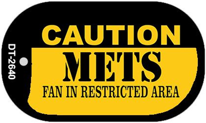 Caution Mets Fan Area Novelty Metal Dog Tag Necklace DT-2640