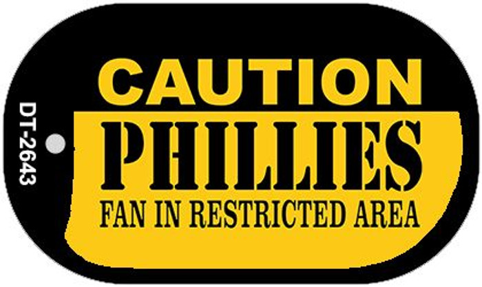 Caution Phillies Fan Area Novelty Metal Dog Tag Necklace DT-2643