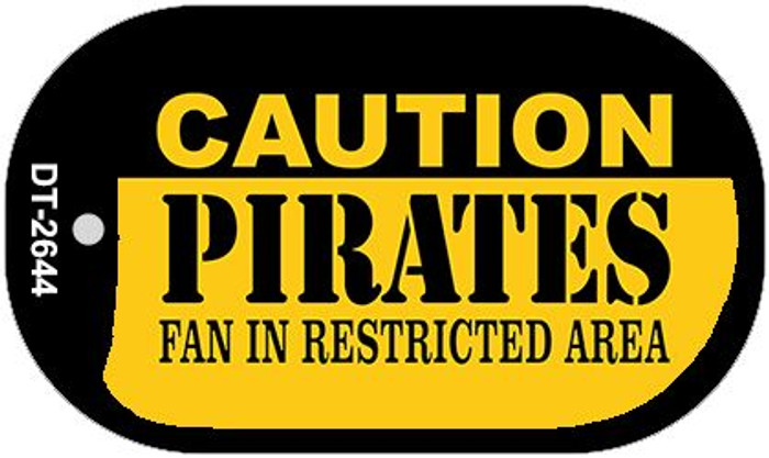 Caution Pirates Fan Area Novelty Metal Dog Tag Necklace DT-2644