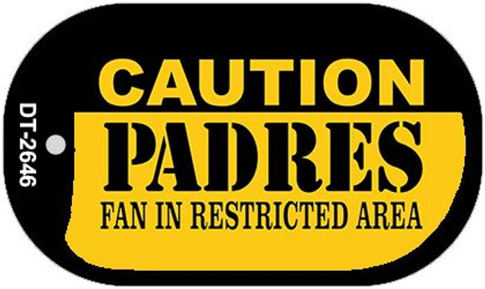 Caution Padres Fan Area Novelty Metal Dog Tag Necklace DT-2646