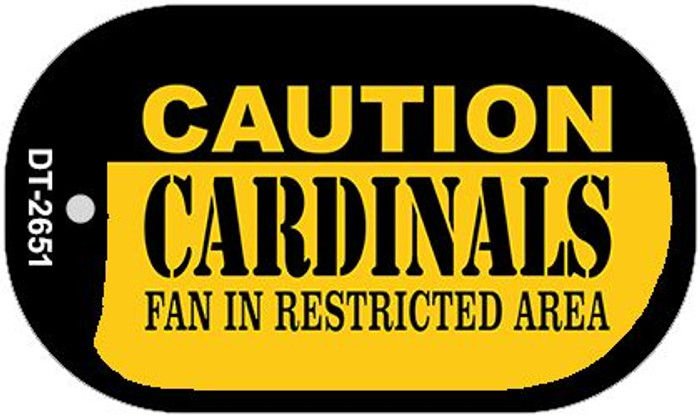 Caution Cardinals Fan Area Novelty Metal Dog Tag Necklace DT-2651